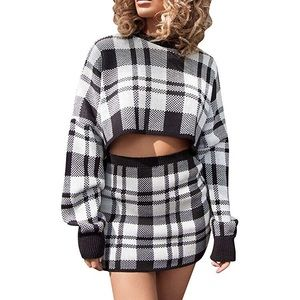 Hannah Two Piece Plaid Knitted Outfit